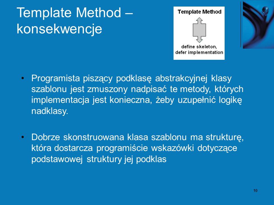 10 Template Method – konsekwencje Programista piszący podklasę abstrakcyjnej klasy szablonu jest zmuszony nadpisać te metody, których implementacja jest konieczna, żeby uzupełnić logikę nadklasy.