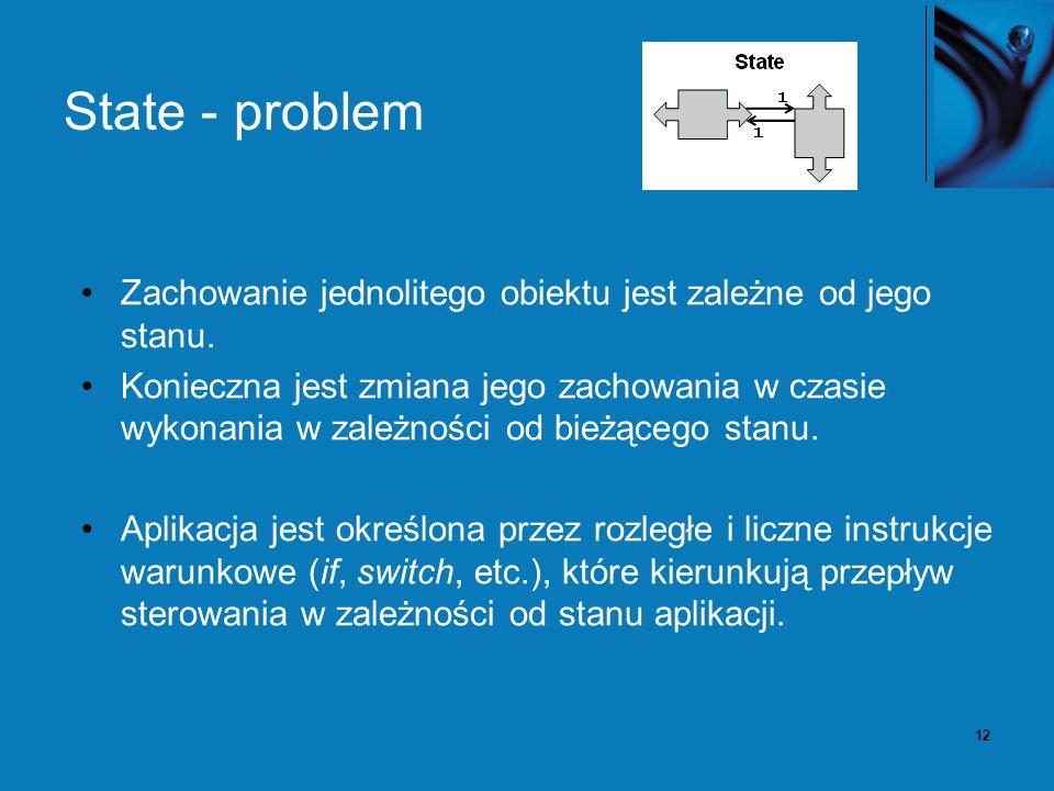 12 State - problem Zachowanie jednolitego obiektu jest zależne od jego stanu.