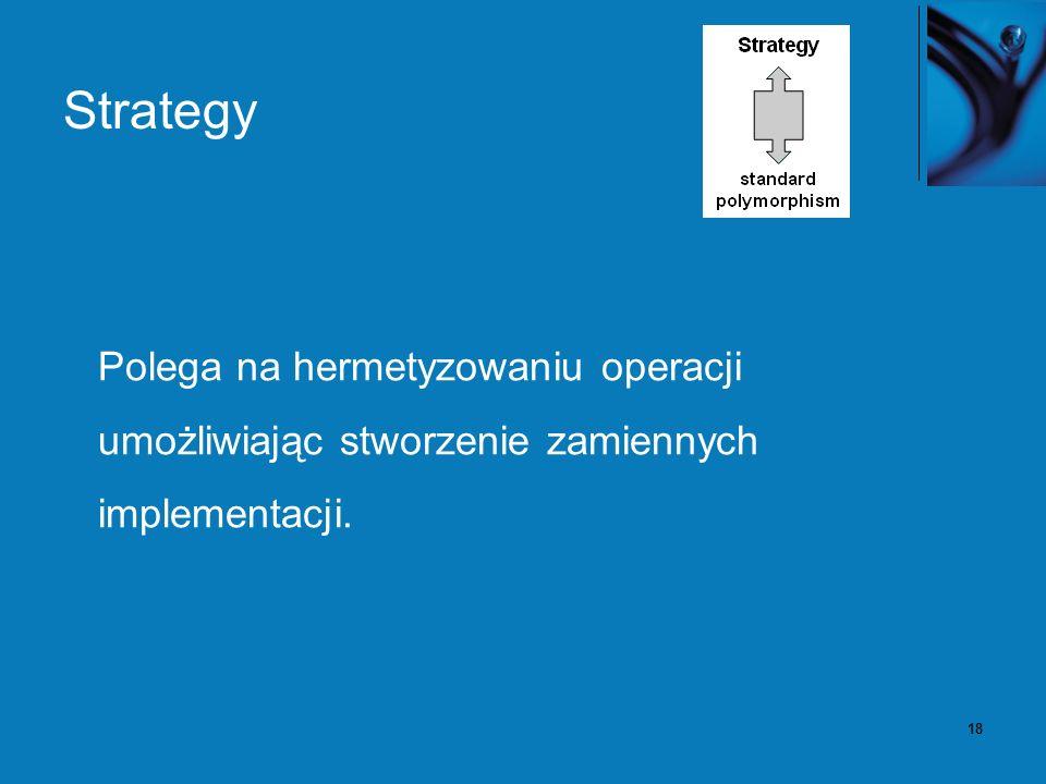 18 Strategy Polega na hermetyzowaniu operacji umożliwiając stworzenie zamiennych implementacji.