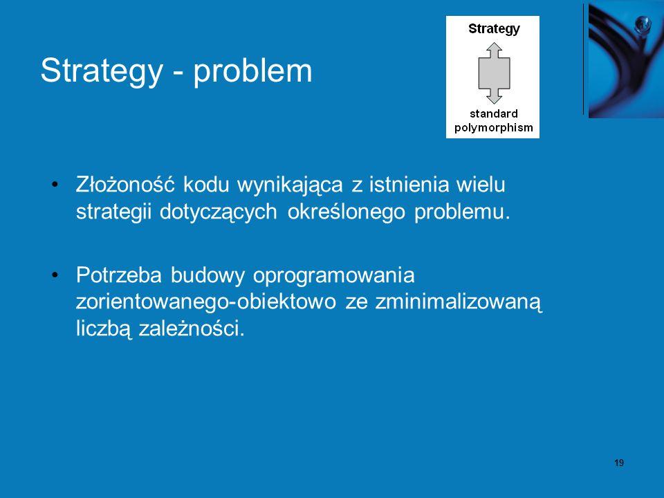 19 Strategy - problem Złożoność kodu wynikająca z istnienia wielu strategii dotyczących określonego problemu.