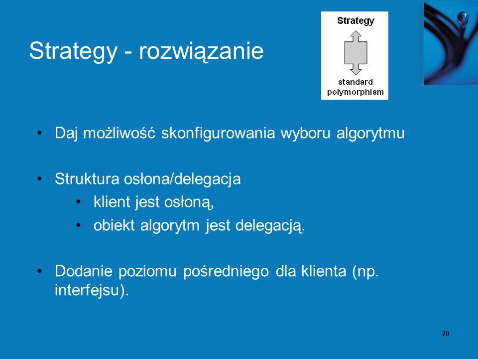 20 Strategy - rozwiązanie Daj możliwość skonfigurowania wyboru algorytmu Struktura osłona/delegacja klient jest osłoną, obiekt algorytm jest delegacją.
