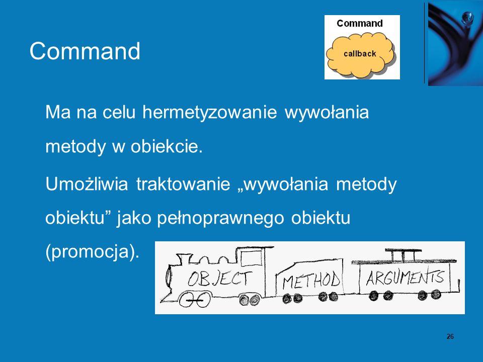 26 Command Ma na celu hermetyzowanie wywołania metody w obiekcie.