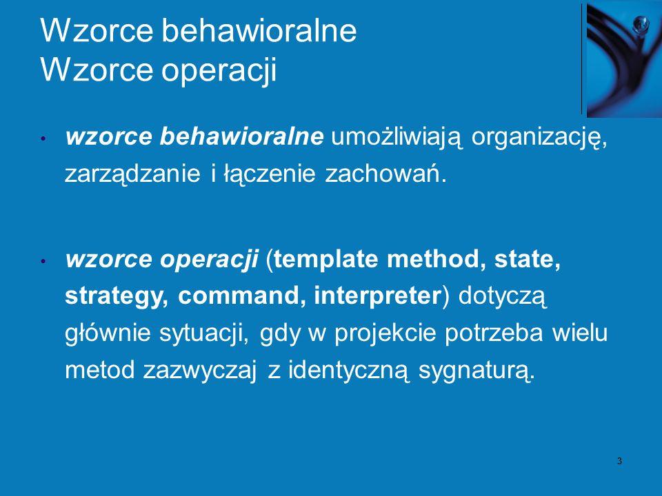 3 Wzorce behawioralne Wzorce operacji wzorce behawioralne umożliwiają organizację, zarządzanie i łączenie zachowań.