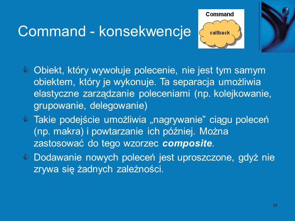 31 Command - konsekwencje Obiekt, który wywołuje polecenie, nie jest tym samym obiektem, który je wykonuje.