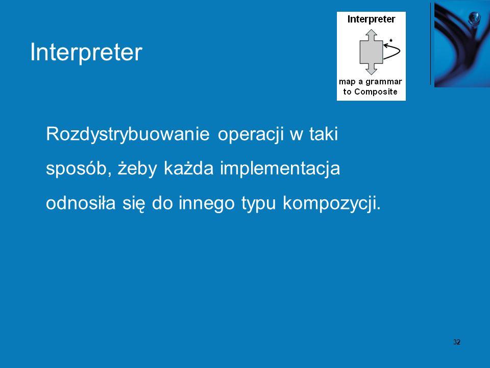 32 Interpreter Rozdystrybuowanie operacji w taki sposób, żeby każda implementacja odnosiła się do innego typu kompozycji.