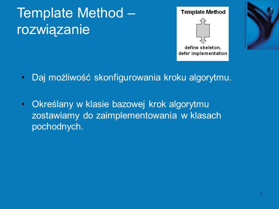 38 Zależności między wzorcami Drzewo składni Interpretera to Composite State może być użyty do definicji kontekstu Interpretera.