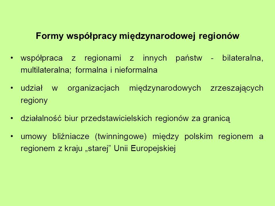 Formy współpracy międzynarodowej regionów współpraca z regionami z innych państw - bilateralna, multilateralna; formalna i nieformalna udział w organizacjach międzynarodowych zrzeszających regiony działalność biur przedstawicielskich regionów za granicą umowy bliźniacze (twinningowe) między polskim regionem a regionem z kraju starej Unii Europejskiej