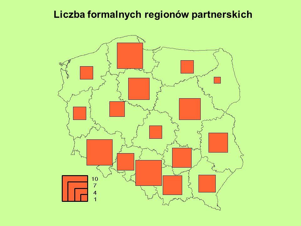 Liczba formalnych regionów partnerskich