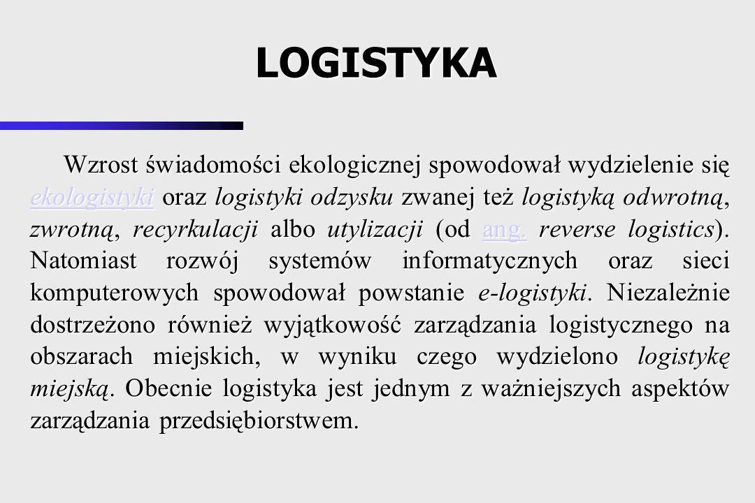 System logistyczny to celowo zorganizowany i połączony zespół takich elementów (podsystemów) jak: produkcja, transport, magazynowanie, odbiorca - wraz z relacjami między nimi oraz ich własnościami, warunkującymi przepływ strumieni towarów, środków finansowych i informacji.