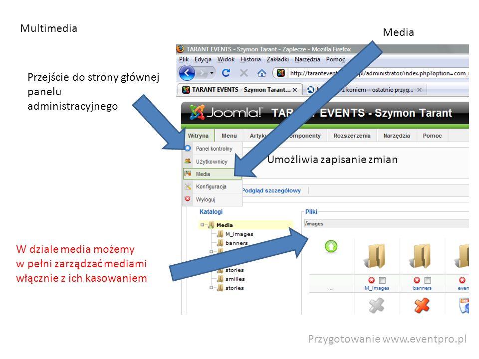 Przygotowanie www.eventpro.pl Multimedia Przejście do strony głównej panelu administracyjnego Umożliwia zapisanie zmian W dziale media możemy w pełni zarządzać mediami włącznie z ich kasowaniem Media