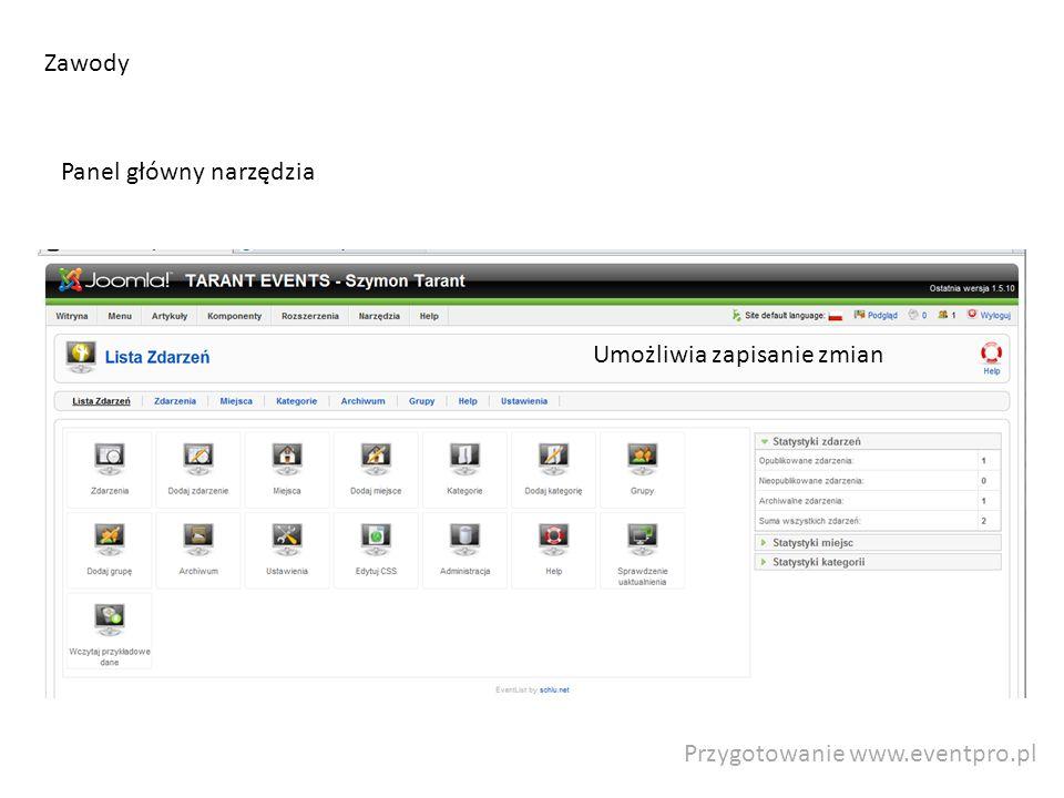 Przygotowanie www.eventpro.pl Zawody Panel główny narzędzia Umożliwia zapisanie zmian