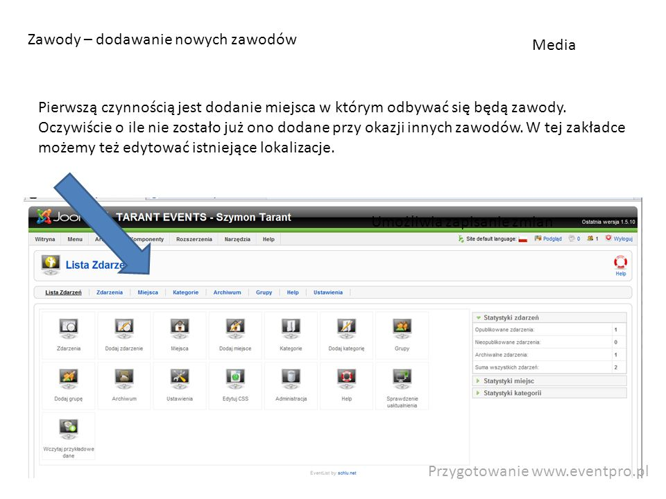 Przygotowanie www.eventpro.pl Zawody – dodawanie nowych zawodów Pierwszą czynnością jest dodanie miejsca w którym odbywać się będą zawody.