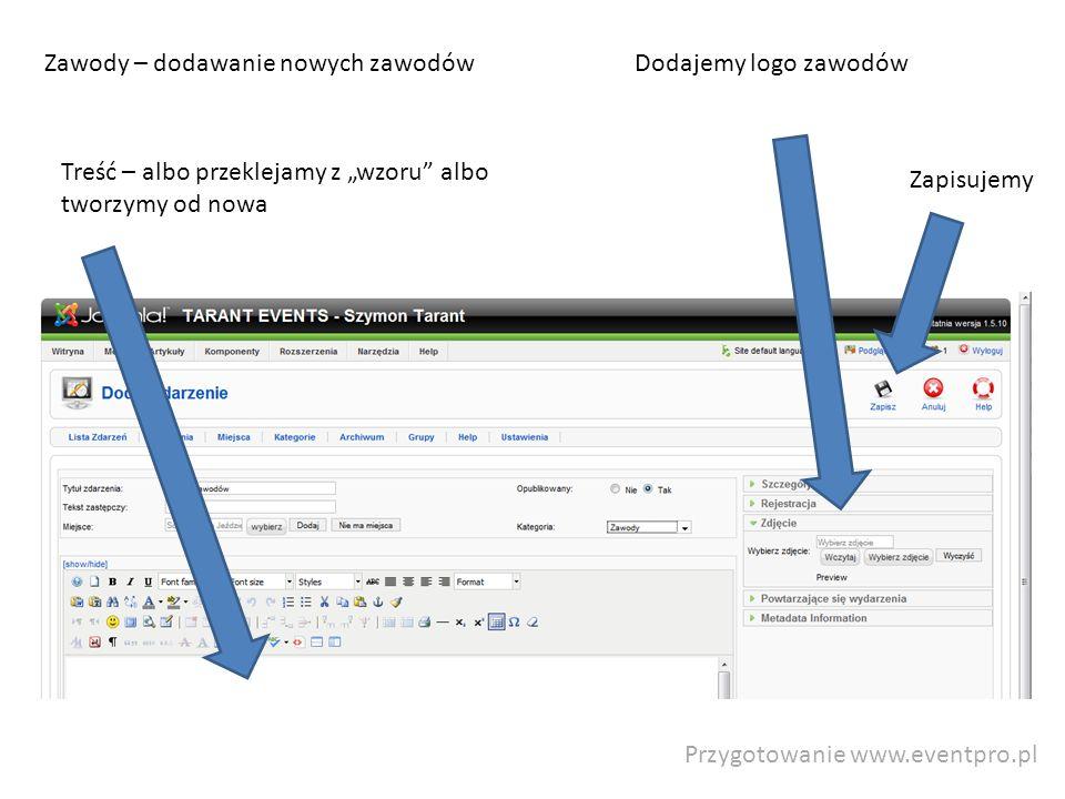 Przygotowanie www.eventpro.pl Zawody – dodawanie nowych zawodów Treść – albo przeklejamy z wzoru albo tworzymy od nowa Zapisujemy Dodajemy logo zawodó