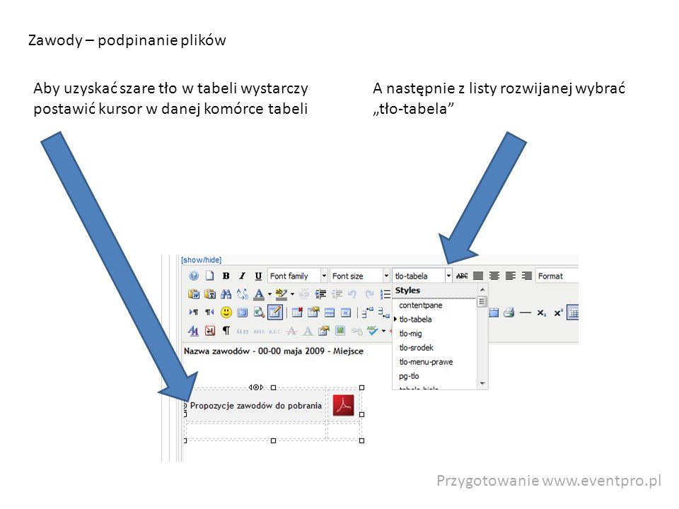 Przygotowanie www.eventpro.pl Zawody – podpinanie plików A następnie z listy rozwijanej wybrać tło-tabela Aby uzyskać szare tło w tabeli wystarczy pos
