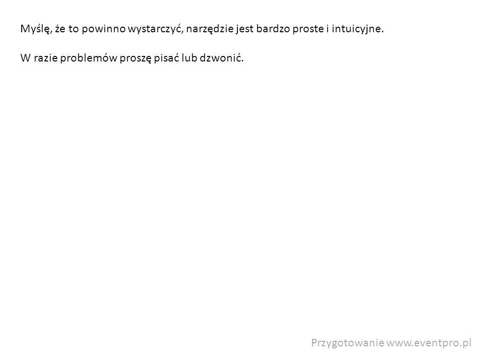 Przygotowanie www.eventpro.pl Myślę, że to powinno wystarczyć, narzędzie jest bardzo proste i intuicyjne. W razie problemów proszę pisać lub dzwonić.