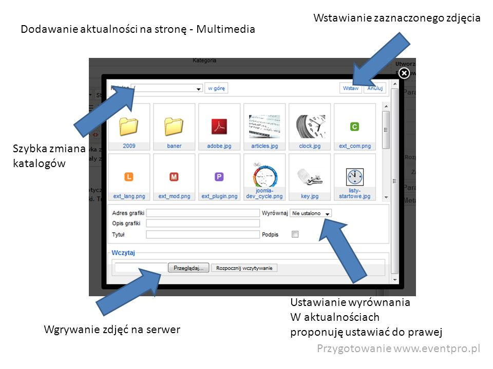 Przygotowanie www.eventpro.pl Dodawanie aktualności na stronę - Multimedia Wgrywanie zdjęć na serwer Szybka zmiana katalogów Ustawianie wyrównania W aktualnościach proponuję ustawiać do prawej Wstawianie zaznaczonego zdjęcia