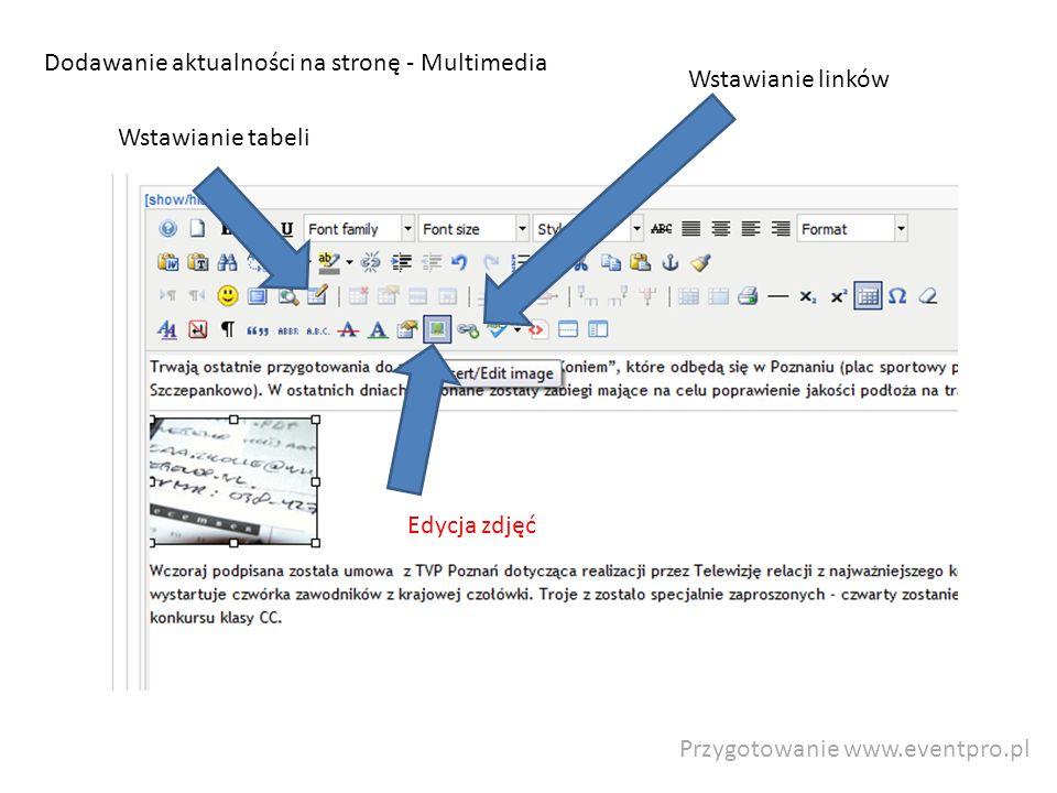 Przygotowanie www.eventpro.pl Dodawanie aktualności na stronę - Multimedia Wstawianie tabeli Edycja zdjęć Wstawianie linków