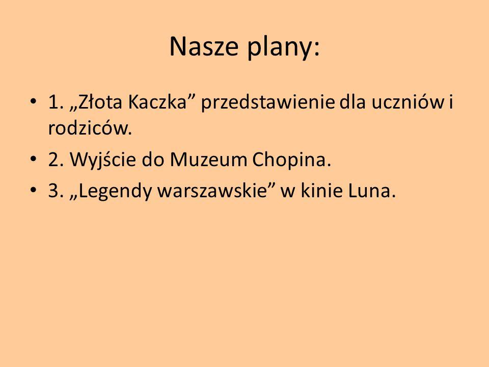 Nasze plany: 1. Złota Kaczka przedstawienie dla uczniów i rodziców.