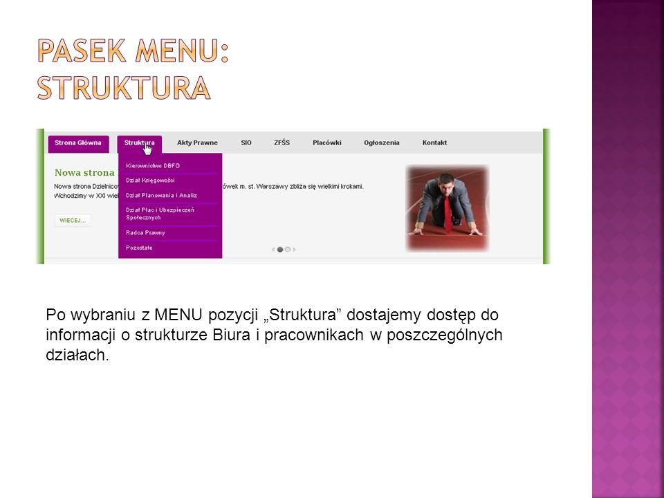 Po wybraniu z MENU pozycji Struktura dostajemy dostęp do informacji o strukturze Biura i pracownikach w poszczególnych działach.