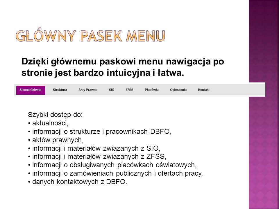 Dzięki głównemu paskowi menu nawigacja po stronie jest bardzo intuicyjna i łatwa.