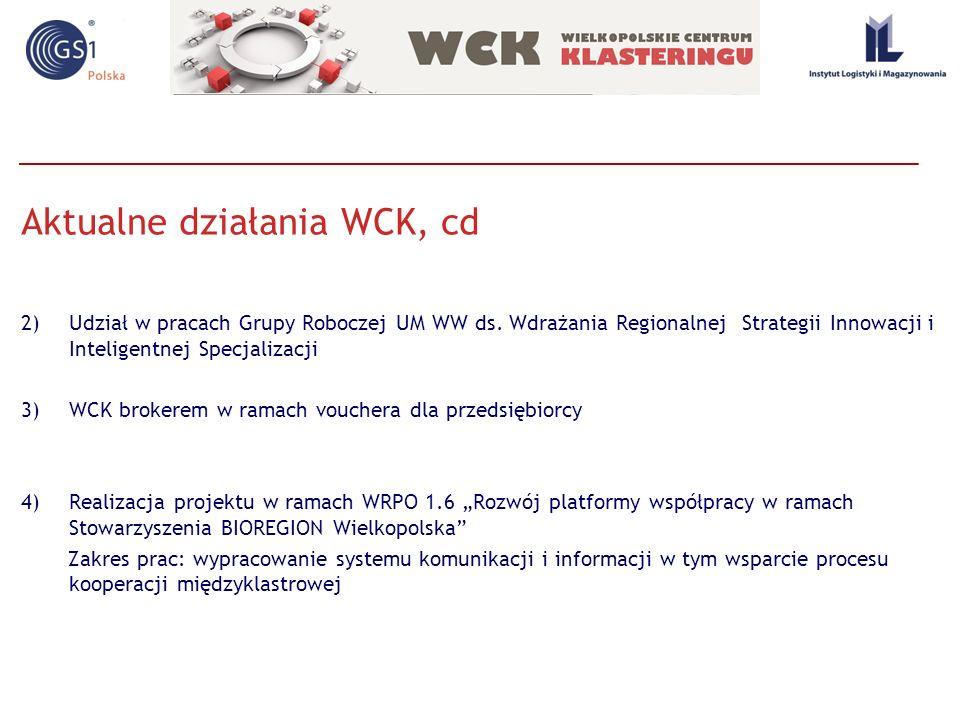 Aktualne działania WCK, cd 2)Udział w pracach Grupy Roboczej UM WW ds. Wdrażania Regionalnej Strategii Innowacji i Inteligentnej Specjalizacji 3)WCK b