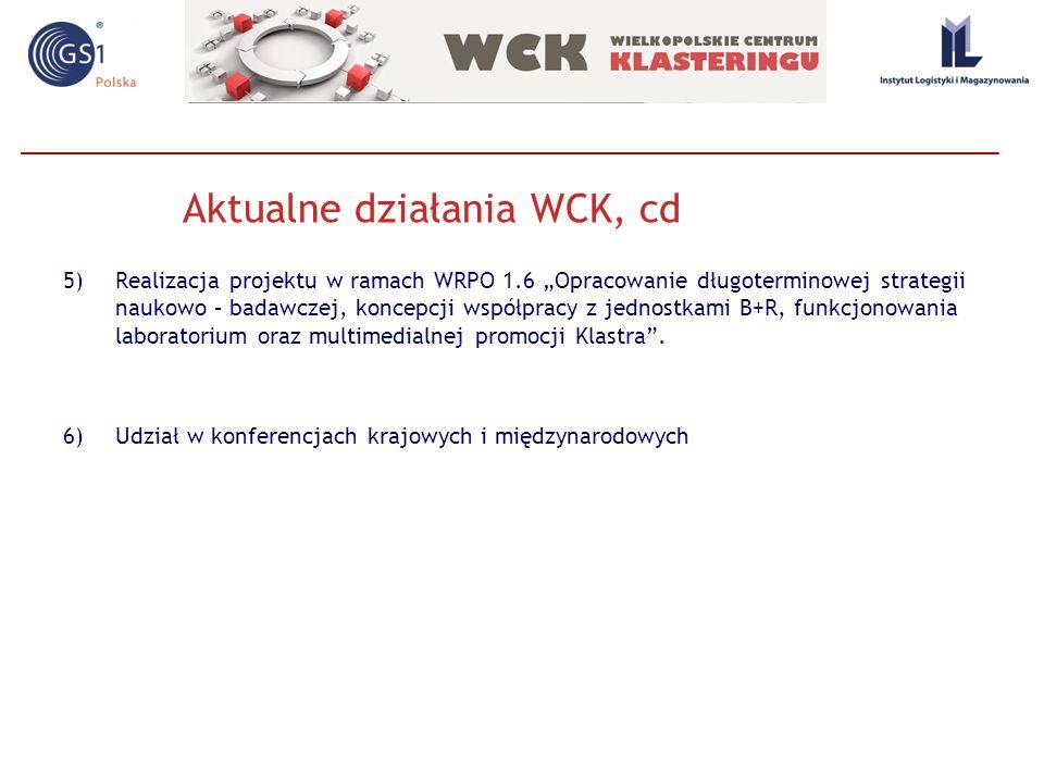 Aktualne działania WCK, cd 5)Realizacja projektu w ramach WRPO 1.6 Opracowanie długoterminowej strategii naukowo – badawczej, koncepcji współpracy z j