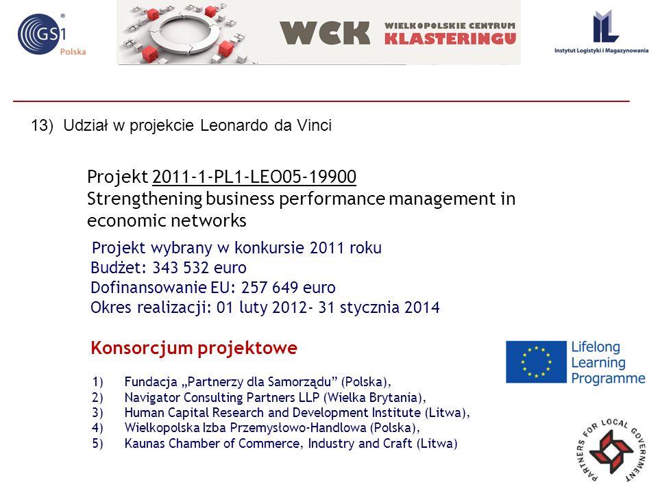 Projekt wybrany w konkursie 2011 roku Budżet: 343 532 euro Dofinansowanie EU: 257 649 euro Okres realizacji: 01 luty 2012- 31 stycznia 2014 Projekt 20