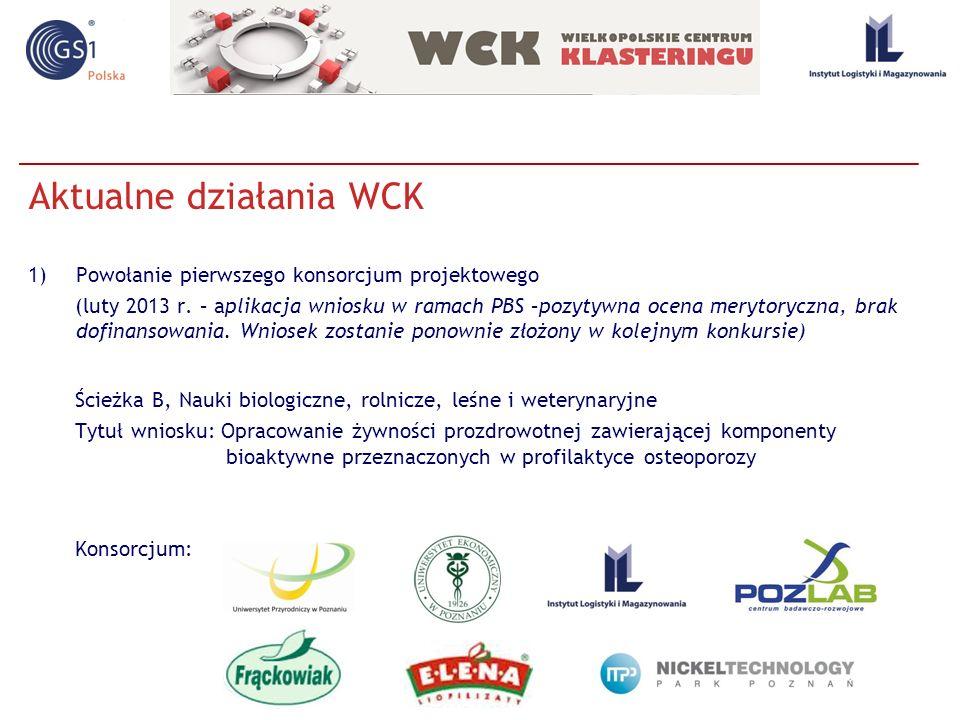 Aktualne działania WCK 1)Powołanie pierwszego konsorcjum projektowego (luty 2013 r. – aplikacja wniosku w ramach PBS –pozytywna ocena merytoryczna, br