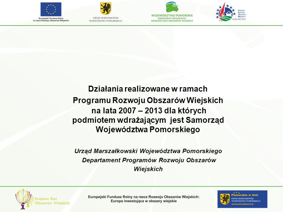 PODSTAWOWE USŁUGI DLA LUDNOŚCI I GOSPODARKI WIEJSKIEJ Poprawianie i rozwijanie infrastruktury związanej z rozwojem i dostosowaniem rolnictwa i leśnictwa Schemat II- Gospodarowanie rolniczymi zasobami wodnymi Przeprowadzono III nabory wniosków (2010 oraz dwa w 2011) Złożonych wniosków - 16 Wydanych decyzji o przyznaniu pomocy- 12 Wniosków o przyznanie pomocy w trakcie weryfikacji – 4 na kwotę 16 000 155,00 zł Kwota pomocy na podstawie pierwotnie wydanych decyzji : 42 513 289,00 zł Kwota pomocy na podstawie decyzji zmieniających: 27 671 361,00 zł Alokacja dla działania w schemacie II: 138 391 306,00 zł Dostępnych środków pozostało: 110 719 945,00 zł Alokacja dla działania w Schemacie I (Poprawianie i rozwijanie infrastruktury związanej z rozwojem i dostosowaniem rolnictwa i leśnictwa przez Scalanie gruntów) – 6 663 680,00 zł