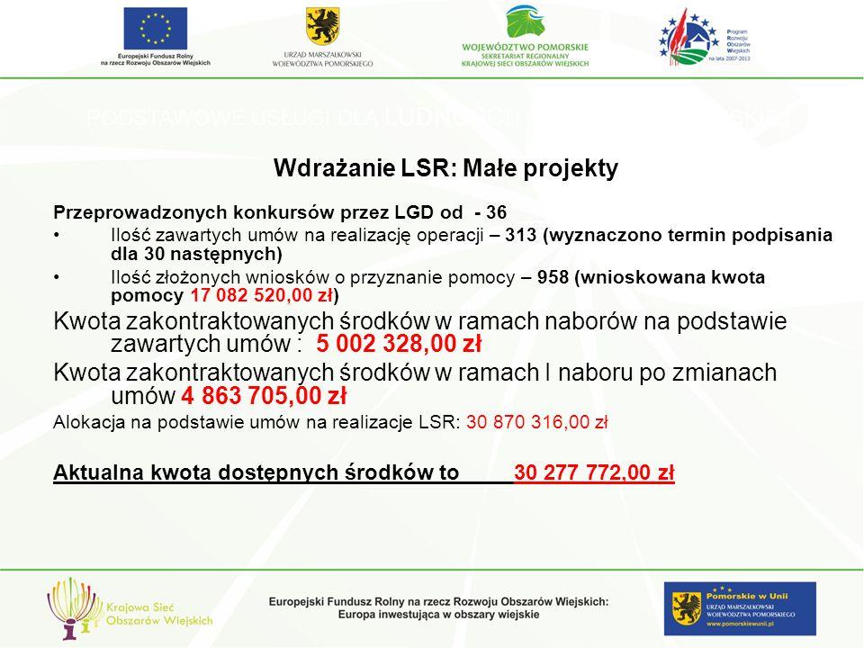 PODSTAWOWE USŁUGI DLA LUDNOŚCI I GOSPODARKI WIEJSKIEJ Wdrażanie LSR: Małe projekty Przeprowadzonych konkursów przez LGD od - 36 Ilość zawartych umów na realizację operacji – 313 (wyznaczono termin podpisania dla 30 następnych) Ilość złożonych wniosków o przyznanie pomocy – 958 (wnioskowana kwota pomocy 17 082 520,00 zł) Kwota zakontraktowanych środków w ramach naborów na podstawie zawartych umów : 5 002 328,00 zł Kwota zakontraktowanych środków w ramach I naboru po zmianach umów 4 863 705,00 zł Alokacja na podstawie umów na realizacje LSR: 30 870 316,00 zł Aktualna kwota dostępnych środków to 30 277 772,00 zł