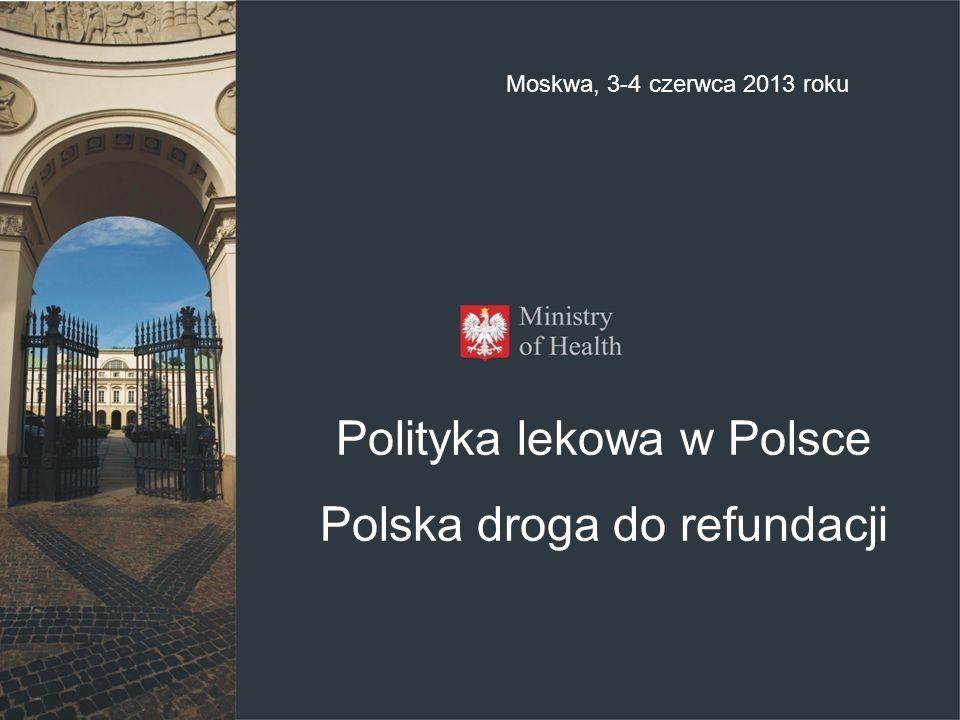 Polityka lekowa w Polsce Polska droga do refundacji Moskwa, 3-4 czerwca 2013 roku
