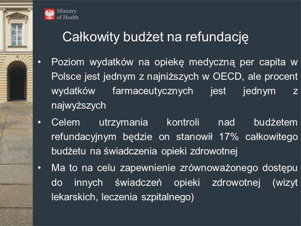 Całkowity budżet na refundację Poziom wydatków na opiekę medyczną per capita w Polsce jest jednym z najniższych w OECD, ale procent wydatków farmaceut