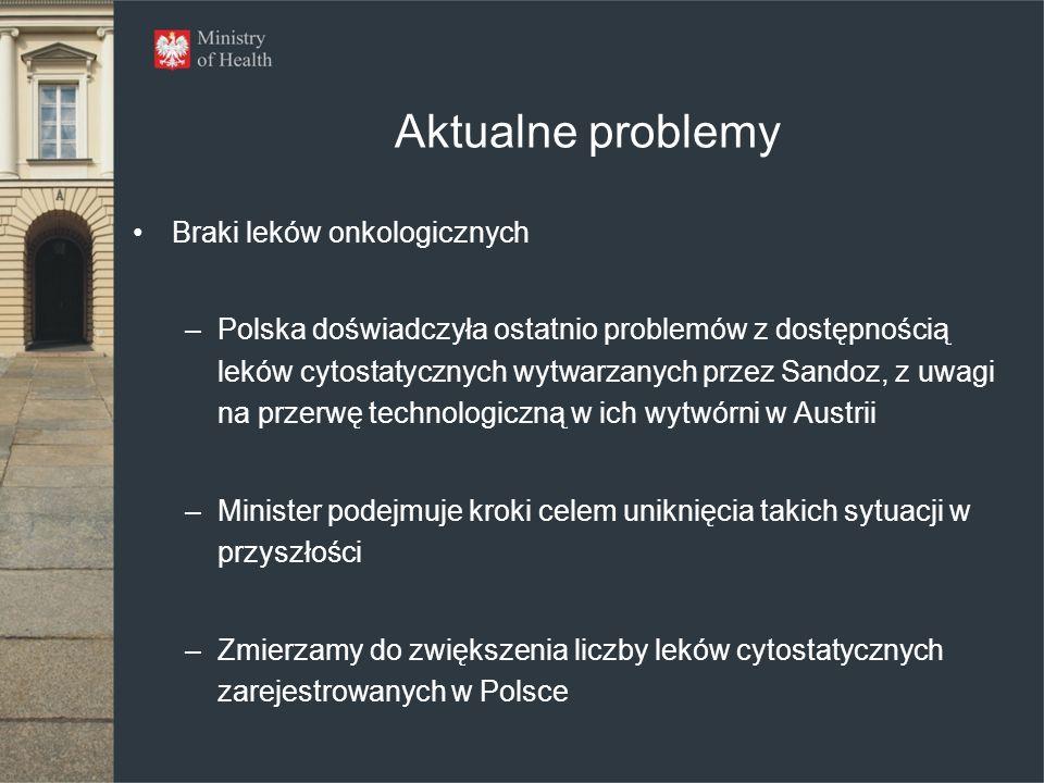 Aktualne problemy Braki leków onkologicznych –Polska doświadczyła ostatnio problemów z dostępnością leków cytostatycznych wytwarzanych przez Sandoz, z uwagi na przerwę technologiczną w ich wytwórni w Austrii –Minister podejmuje kroki celem uniknięcia takich sytuacji w przyszłości –Zmierzamy do zwiększenia liczby leków cytostatycznych zarejestrowanych w Polsce