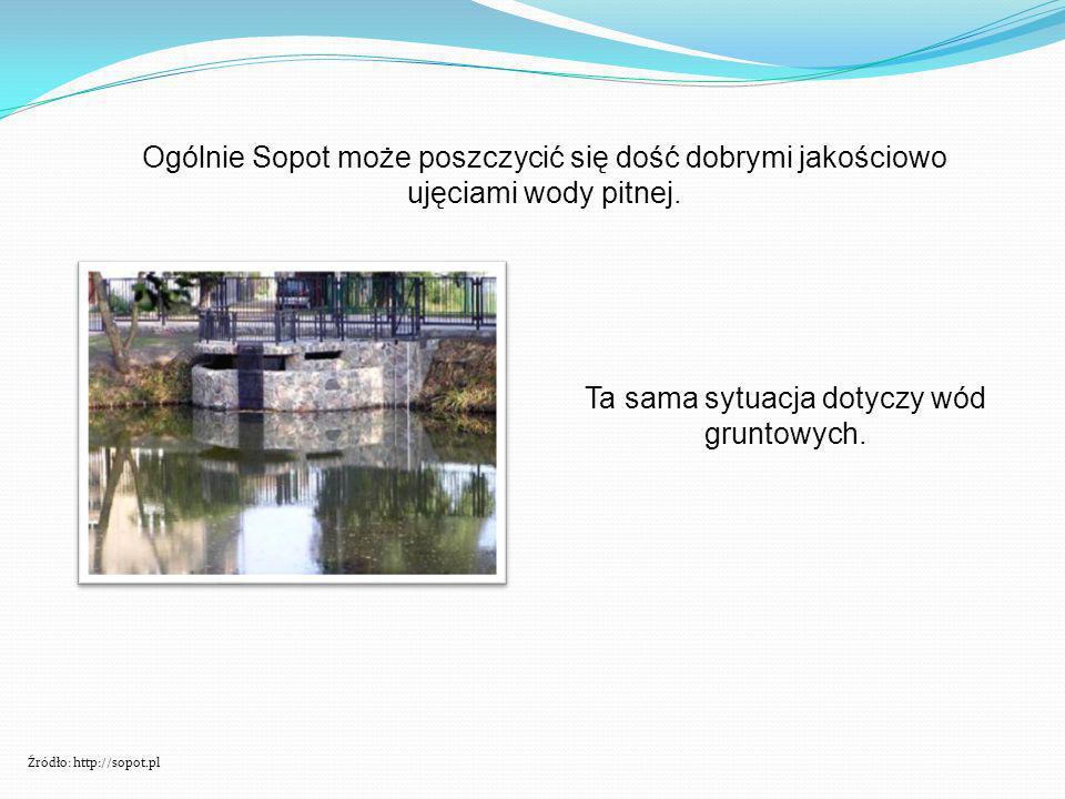 Ogólnie Sopot może poszczycić się dość dobrymi jakościowo ujęciami wody pitnej. Ta sama sytuacja dotyczy wód gruntowych. Źródło: http://sopot.pl