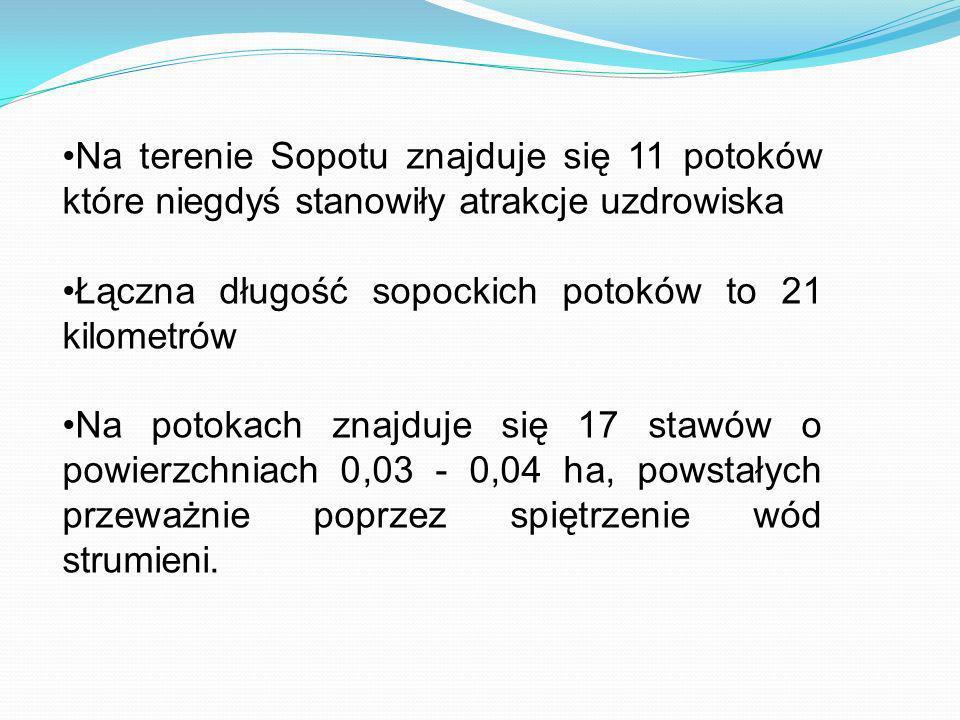 Na terenie Sopotu znajduje się 11 potoków które niegdyś stanowiły atrakcje uzdrowiska Łączna długość sopockich potoków to 21 kilometrów Na potokach zn