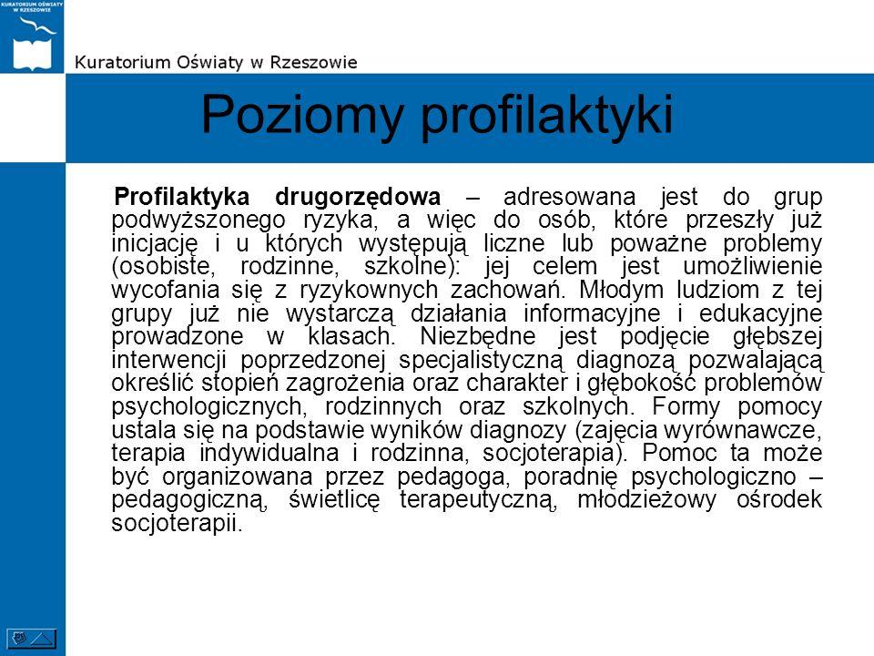 Poziomy profilaktyki Profilaktyka drugorzędowa – adresowana jest do grup podwyższonego ryzyka, a więc do osób, które przeszły już inicjację i u któryc