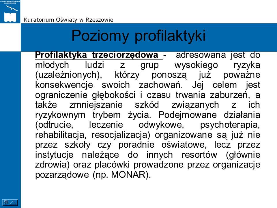 Poziomy profilaktyki Profilaktyka trzeciorzędowa - adresowana jest do młodych ludzi z grup wysokiego ryzyka (uzależnionych), którzy ponoszą już poważn