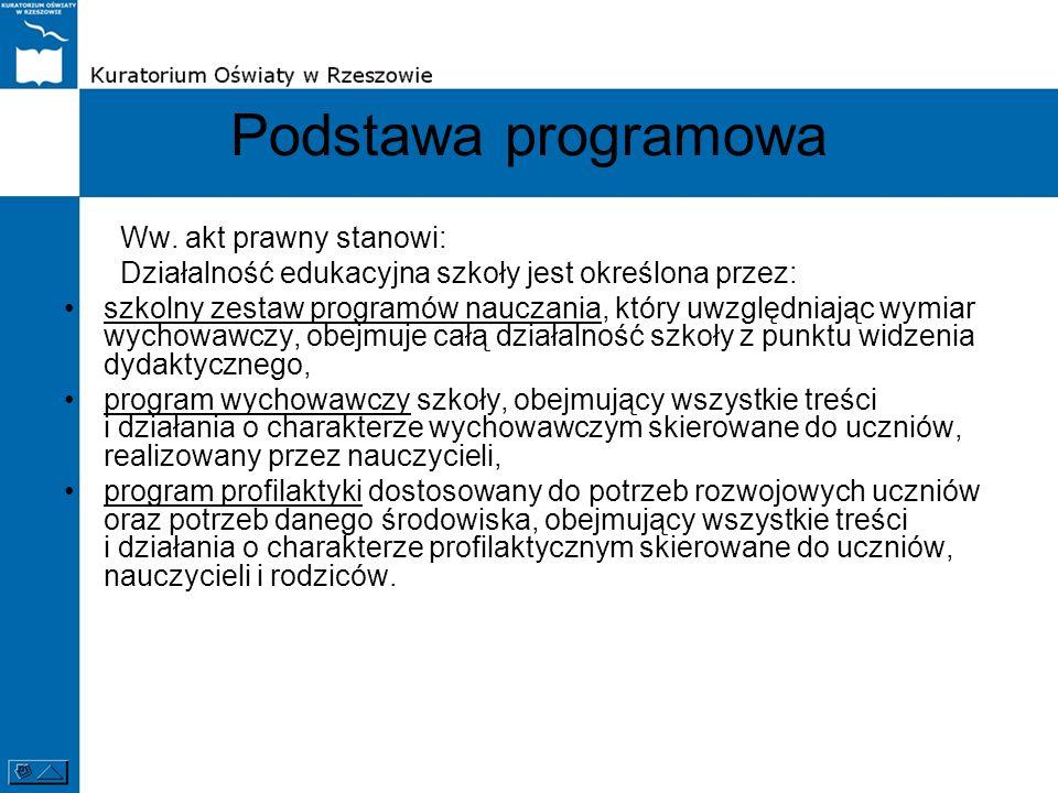 Podstawa programowa Ww. akt prawny stanowi: Działalność edukacyjna szkoły jest określona przez: szkolny zestaw programów nauczania, który uwzględniają