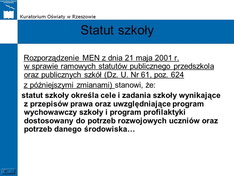 Statut szkoły Rozporządzenie MEN z dnia 21 maja 2001 r. w sprawie ramowych statutów publicznego przedszkola oraz publicznych szkół (Dz. U. Nr 61, poz.