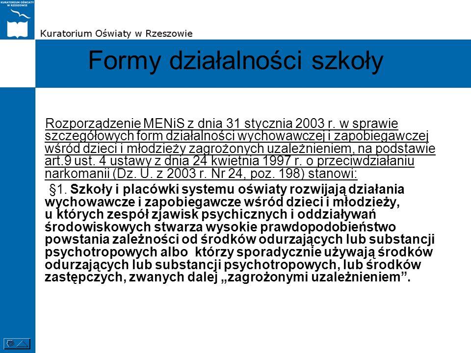 Formy działalności szkoły Rozporządzenie MENiS z dnia 31 stycznia 2003 r. w sprawie szczegółowych form działalności wychowawczej i zapobiegawczej wśró