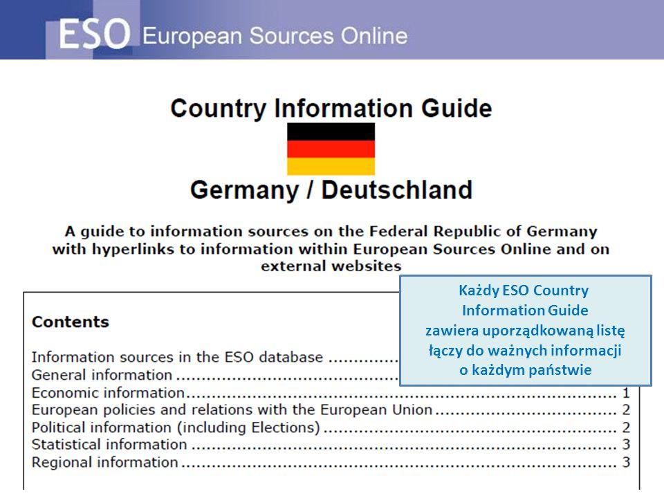 Każdy ESO Country Information Guide zawiera uporządkowaną listę łączy do ważnych informacji o każdym państwie