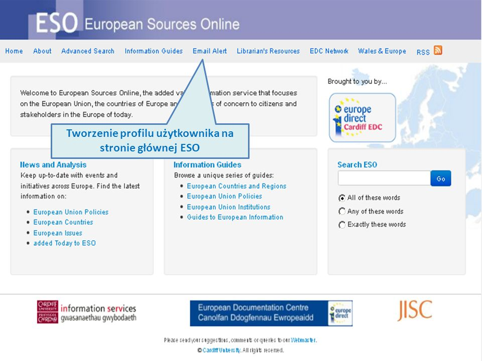 Tworzenie profilu użytkownika na stronie głównej ESO