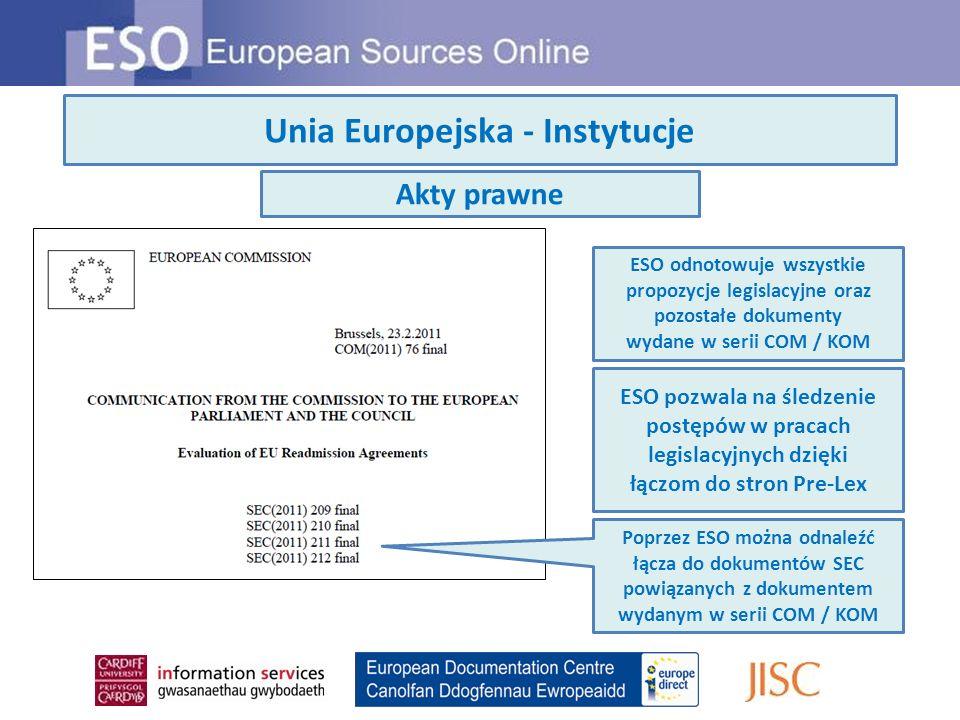 Unia Europejska - Instytucje ESO odnotowuje wszystkie propozycje legislacyjne oraz pozostałe dokumenty wydane w serii COM / KOM ESO pozwala na śledzen