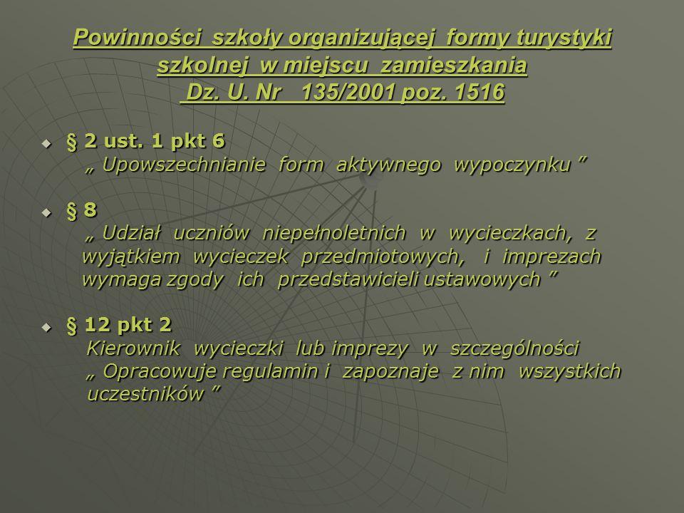 Powinności szkoły organizującej formy turystyki szkolnej w miejscu zamieszkania Dz. U. Nr 135/2001 poz. 1516 § 2 ust. 1 pkt 6 § 2 ust. 1 pkt 6 Upowsze