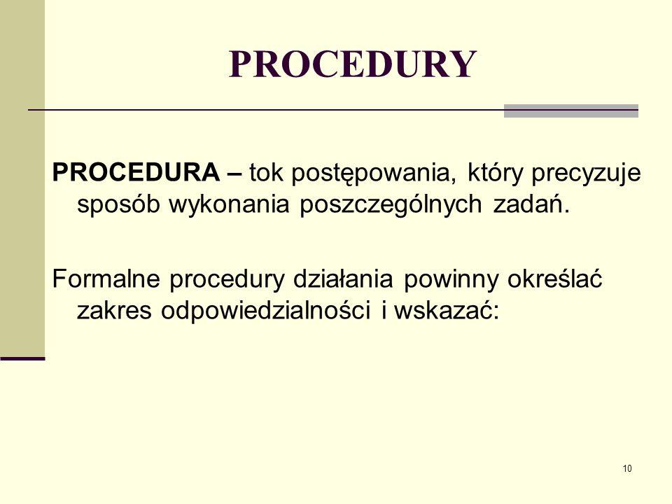 PROCEDURY PROCEDURA – tok postępowania, który precyzuje sposób wykonania poszczególnych zadań.