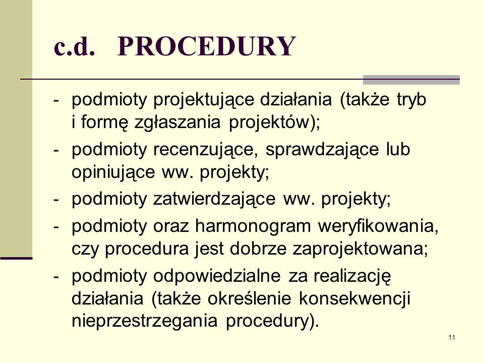 c.d. PROCEDURY - podmioty projektujące działania (także tryb i formę zgłaszania projektów); - podmioty recenzujące, sprawdzające lub opiniujące ww. pr