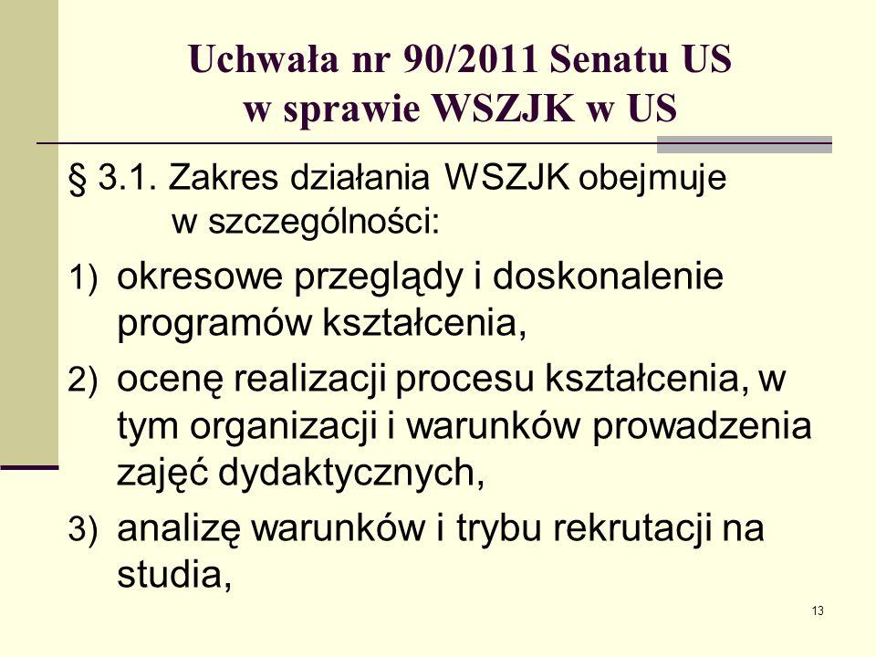 13 Uchwała nr 90/2011 Senatu US w sprawie WSZJK w US § 3.1.