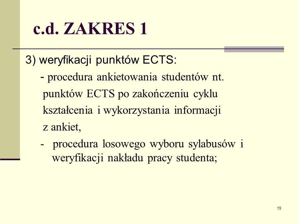 c.d. ZAKRES 1 3) weryfikacji punktów ECTS: - procedura ankietowania studentów nt.