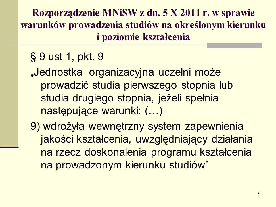 Rozporządzenie MNiSW z dn. 5 X 2011 r.