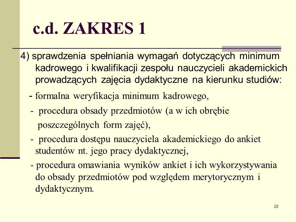 c.d. ZAKRES 1 4) sprawdzenia spełniania wymagań dotyczących minimum kadrowego i kwalifikacji zespołu nauczycieli akademickich prowadzących zajęcia dyd
